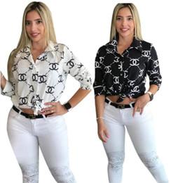 Camisa larga delgada negra para mujer online-Blusa para mujer camisa negra manga larga prendas de vestir exteriores tops camisas con estampado de letras de moda ropa de mujer delgada klw2003