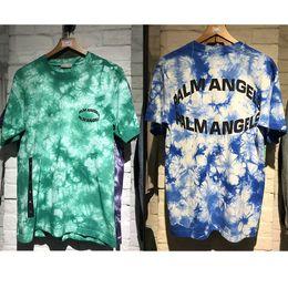 2019 encre de graffiti Hip Hop Palm Angels T-shirt Eté Bleu / Vert Pourpre Graffiti T-Shirt Angels Streetwear Encolure Palm Angels Top T-shirts encre de graffiti pas cher