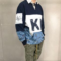 Polo del collare del basamento online-18FW GregLauren X Kith Stitching Polo Shirt Stand di moda Collare Coppia maniche lunghe di alta qualità Camicie da uomo firmate da uomo HFKYTX022