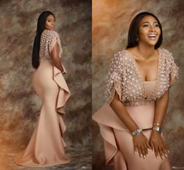 robe soiree peplum Rabatt 2020 Pearl Pink Abendkleider tragen afrikanische Saudi-Arabien formales Kleid für Frauen Peplum Rüschen Hüllen-Abschlussball-Kleider Promi-Robe De Soiree