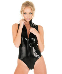 Macacão de clube macacão macacão on-line-New Black Latex Macacão Olhar Molhado Bodycon PVC Bodysuit Faux Leather Catsuit Punk Fetish Erotic Lingerie Costume Dance Club Sexy