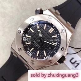 Оптовая продажа роскошных Royal Oak Offshore Diver 42 мм с автоматическим механизмом серии 15703 резиновый ремень мужские черный циферблат спортивные стеклянные задние часы 2019 cheap watch movements wholesale от Поставщики наручные часы