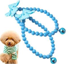 Joyería azul campana online-28cm Collar de cuentas para mascotas Azul Big Bell Collar de joyería para mascotas Collar de perro Anillo fuerte Clásico Salvaje