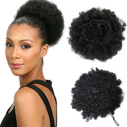human hair styles for black women Promo Codes - Hot style Afro Short Curly Ponytail Bun cheap human hair virgin hair Chignon hairpiece clip in for black women