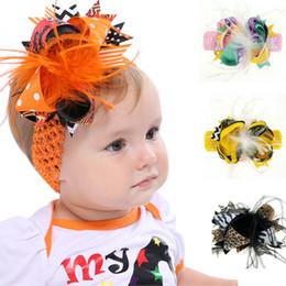 Linda diadema negra online-Boy Niña Cinta de cabeza del niño niños pluma arco Hairband accesorios Headwear rosada linda diadema Negro Amarillo Naranja