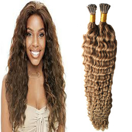burgundy hair blonde tips Promo Codes - 100s pcs Mongolian Afro Kinky Curly hair Fusion Hair Extensions curly Machine Made Remy I TIP Keratin Pre Bonded Human Hair