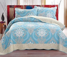 bedding coverlet sets Coupons - Cotton Quilt Set Floral 3pcs Coverlets Cotton Quilts Simple Solid Bedding Quilted Bed Covers with Pillowcase