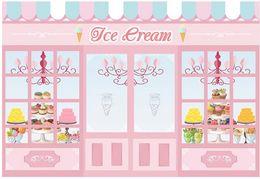 Cupcake di poliestere online-7x5ft Cupcake Pink Ice Cream Shop Parlor Rughe esterne lavabili Free Photo Studio Sfondo Sfondo Tessuto in poliestere