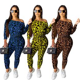 Um macacão de ombro on-line-Mulheres fora do ombro leopardo Macacão Calças Clube Sexy impressão Casual Um ombro manga comprida Partido Senhoras Macacão playsuit LJJA3016