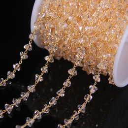 5 Metros 6mm Champagne Coração De Vidro Contas Rosário Cadeias Suprimentos, Banhado A ouro Fio Enrolado Cadeia De Vidro Facetado DIY Colar de Jóias supplier rosary glass bead chain de Fornecedores de corrente de talão de rosário