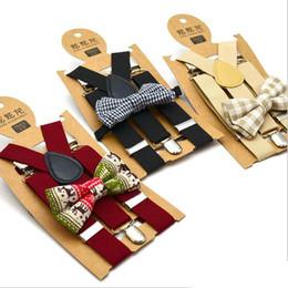 Crianças Suspensórios Bow Tie Set Meninos da manta impressos Suspensórios grade Elastic Y Suspensórios com Strap Retro Bebê Bow Tie Moda Belt Clipe Y-back de
