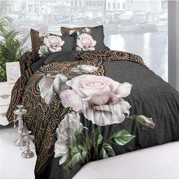 Conjunto de cama de luxo 3D Rose conjuntos de Cama de Algodão Folha de Cama Capa de Edredão Fronha Fronha conjunto de Cama King Size Queen Colcha de
