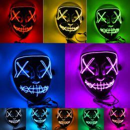 Темная маска онлайн-10 Стили Хэллоуин LED Light Up маска партии Cosplay маскирует Purge Год выборов Смешные Glow В Dark Horror Маски Хэллоуин питания Подарочные
