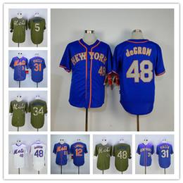 Men s New York Mets Jacob deGrom Noah Syndergaard Mike Piazza David Wright  Juan Lagares Blue White Green Baseball Jersey 2303e2949