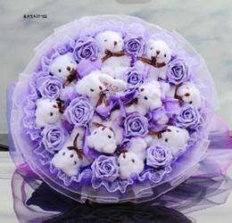 2019 lazo de oso de peluche H-13cm encantadora pajarita rellena articulada Teddy Bear regalo Flor embalaje Teddy Bear 9 color 12 unids / lote lazo de oso de peluche baratos