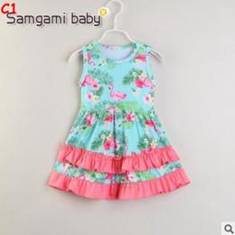 flamingo kleidung Rabatt Baby Mädchen Designer Kleidung Cartoon Flamingo Kleid 2019 Sommer Sleeveless Baumwolle Flamingo Sommerkleid Kleinkind Kinder Kinder Hochzeit Party Kleid
