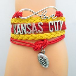 teams beads Coupons - Infinity Love Kansas City State Chiefs Football Sports Team Bracelet red yellow Sport friendship Bracelets B09031