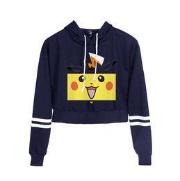 2019 camisolas meninas sexy Anime Ir Pulôver Sexy Umbigo Mulheres Hoodies Sexy Cintura Alta Camisola Detetive Pikachu Colheita Tops Menina camisolas meninas sexy barato