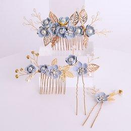 24cc1182f35 hair pin stick clips Promo Codes - Gold Leaves Handmade Bridal Hairpins  Pearls Crystal Flower Hair