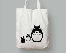 Модные мужские сумки онлайн-Totoro Tote Bag забавный милый графический harajuku японский каваи забавный женский модный холщовый мешок хозяйственные сумки Путешествие с застежкой-молнией