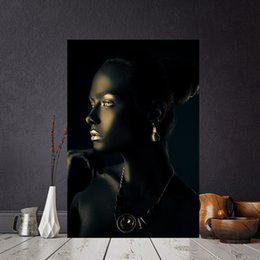 tramonti di alta qualità dipinti Sconti 1 Pcs Black Gold African Woman Portrait Canvas Painting Posters and Print Scandinavian Wall Art Picture for Living Room No Frame