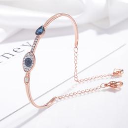 titan zink weiß Rabatt Natürliche kristall bösen blick armband Europäischen und Amerikanischen mode elegantes blaues auge 925 sterling silber armreif frauen luxus schmuck geschenk