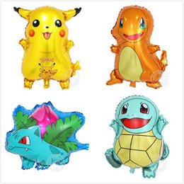 fire toys Coupons - Pikachu Aluminum Balloon Jenny Turtle Miao Frog Seed Small Fire Dragon Cute Animal Air Balloon Birthday Party Decoration Gift