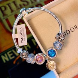 pietre bianche di platino Sconti Designer Bracciale Pandora Bracciale in argento Bracciale in diamanti con pietre preziose Decorazione Pandora 2019 Accessori moda di lusso Confezione regalo