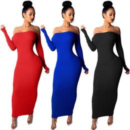 Argentina Diseñador de las mujeres falda de manga larga fuera del hombro sin espalda vestido de una sola pieza vestido de bodycon de alta calidad sexy elegante maxidress caliente klw0213 Suministro