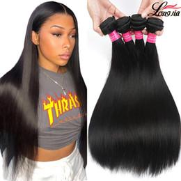 Brasilianisches menschliches haar kaufen online-Brazilian Straight Hair Bundles Brasilianisches jungfräuliches Menschenhaar Straight Weft 2 oder 4 Farbe kann unverarbeitete Straight-Echthaar-Extensions kaufen