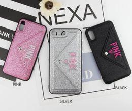 Handy-glitzer telefon fall online-Kartensteckplatz rosa Telefonkasten Entwurfs-Glitter-3D Stickerei-Liebes-Rosa Abdeckungszelle-Handy-Fall für iPhone X geben DHL frei