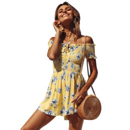 1e4658b4b57f Slim Casual Floral Off Shoulder Women Jumpsuit Short Sleeve Summer Lace Up  Fashion Printed Ladies Beach Holiday Bodysuit ladies floral jumpsuits deals