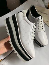 Acabado de zapatos online-Stella McCartney Elyse Monograma acabado Sneak mujeres zapatos casuales suela suela afilada plataforma de cuero genuino Sneaker