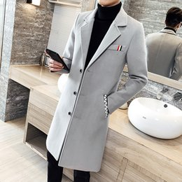 2019 homens laranja trincheira 2019 novo boutique de moda cor sólida blusão longo fino jaqueta tamanho grande 5XL outono e inverno jaqueta de negócios casuais S-5XL