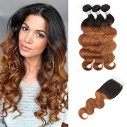 human hair weave honey blonde Promo Codes - KISSHAIR Raw Indian Hair Bundles with Lace Closure Body Wave T1B27 Honey Blonde T1B30 Medium Auburn Ombre Human Hair Weaves