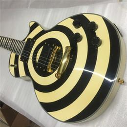 guitarras zakk wylde Desconto Frete Grátis Custom Shop Zakk Wylde Preto Torcido bullseye Amarelo Guitarra Elétrica Maple Pescoço Fingerboard, Bloco Branco Pérola Inlay, cópia E