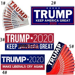 2019 decalques de parede vermelho preto 5 Estilos Donald Trump 2020 Adesivos de Carro 10 pçs / lote Manter Adesivo América Grande Decalque Car Styling Veículo Paster 7.6 * 22.9 cm BH2013ZX
