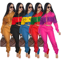 zip suits Coupons - New Tracksuits women's letter printing Two piece Set Women Fashion Zipper Windbreaker Jacket Long Sleeve Striped Pants Sports Outfit Suits
