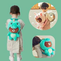 Il vestito porta i sacchetti online-Sacchetto di peluche orso bruno zaino dinosauro vestirsi Totoro maiale peluche borsa regalo scuola regalo giocattolo regalo di compleanno per bambini ragazza