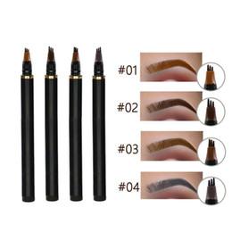 plantilla de polvo de ceja Rebajas Microblanding tatuaje de cejas lápiz de ojos a prueba de agua natural de cejas maquillaje de larga duración 3 Cabeza fina Boceto Enhancer