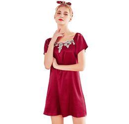 2019 xl babydolls 2019 Mulheres Sexy Nightwear Cetim De Seda Bordado Lingerie Sleepwear Robes Camisola Robes Kimono Vestuário Exótico Babydolls Chemises desconto xl babydolls