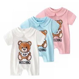 Pantalones cortos de escalada online-Algodón de verano, niños y niñas de manga corta, ropa de una pieza para bebés, ropa para bebés recién nacidos, ropa de escalada para bebés