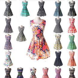 Ropa china online-La más nueva moda vestido ocasional de las mujeres más el tamaño barato vestido de China 19 diseños de ropa de mujer sin mangas vestido Summe envío gratis