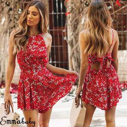 2019 vestiti floreali delle donne Summer Brand Womens Beach Shorts Tuta Sexy Backless Boho Playsuits Ladies Sleeveless Floral Playsuit Tute Abiti sconti vestiti floreali delle donne