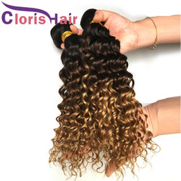 human hair extensions blonde highlights Coupons - Highlight 1B 4 27 Deep Wave Real Human Hair Peruvian Virgin Curly Ombre Sew In Extensions Three Tone Brown Blonde Colored Weaves 3 Bundles
