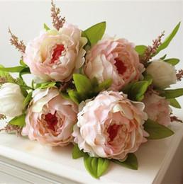 Seidenbrautstrauß online-(7 Köpfe / Bündel) Künstliche Seide Simulation Pfingstrose Blume Künstliche Blume Pfingstrose Blume Hochzeitsdekoration Braut Hand Bouquet Gefälschte Pflanze
