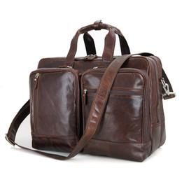 17 bolsas de ordenador portátil para hombres online-Nesitu café grande de cuero genuino 14 '' 15.6 '' 17 '' portátil hombres maletín cartera de viaje de negocios bolsas de mensajero M7343