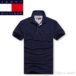 2019 logotipo de la moda de los hombres camisetas Tommy men polos camisa tommy luxury mens negocio camisa moda bordado logo 19 color S-6XL marca hombre polos flojos del verano camiseta clásica