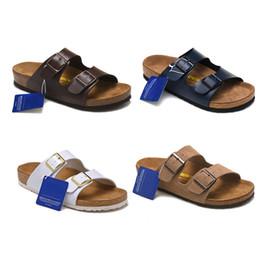 zapatillas de corcho Rebajas Zapatillas de cuero genuino más nuevas para hombres Sandalias de Arizona Zapatos planos para mujer con doble hebilla Famous Cork Softfoot zapatillas calientes zapatos Playa de verano