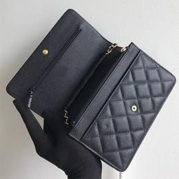 Leather satchel bags on-line-2018 Top frete grátis das mulheres designer de senhora woc saco de ombro sacos de aleta de couro genuíno preto correntes saco de noite bolsa satchel 33814